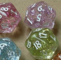 Wholesale Powder Game - Flash Powder 20 Sided Dice D20 Funny Toys Polyhedral Boson Family Games Party Game Dice Novelties Entertainment Toy High Quality #P21