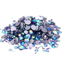 Wholesale Crystal Rhinestone Chaton - Tanzanite AB Non Hotfix Crystal Rhinestones SS3-SS10 And Mixed Sizes Glue On Glass Chaton DIY Backpack Clothes Bag Shoe Supplies