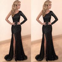 Wholesale White One Sleeve Homecoming Dress - Shinning Sequined Black One Shoulder Prom Dresses Long High Side Split Sexy Mermaid Evening Dress Sweep Train Cheap Homecoming Party Gowns