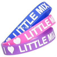 Wholesale rubber express - Wholesale- 300pcs a lot Debossed Little Mix wristband silicone bracelets rubber cuff wrist bands bangle free shipping by FEDEX express
