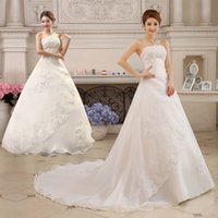 Wholesale Long Tail Elegant Gown - 2017 Cheap Wedding Dresses Plus Size Lace Embroidery Strapless Sleeveless Long Tail Elegant Bridal Ball Gowns Vestidos De Novia Custom Made