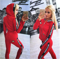 Wholesale Womens Cycling Shirts - 2017Hot Sale pink Women's Tracksuits spring style sweat shirt Print tracksuit women Long Pants Pullover Tops Womens set Women Sport Suits
