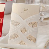 Wholesale Ivory Ribbon Wedding Invitations - Elegant White Ribbon Golden Shiny Dots Wedding Invitations Cards, By Wishmade, CW060