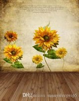 Wholesale Printed Backdrops - Sunflower On the Wall 5x7ft Digital Printing Studio Backdrops Vinyl Photography Lighting Print Cloth Prop Photo Backgrounds
