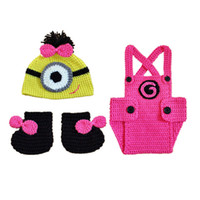 Wholesale crochets shoes for sale - Handmade Knitted Crochet Baby Girl Minion Outfit Cartoon Minion Hat Shorts Shoes Set Infant Halloween Costume Newborn Toddler Photo Prop