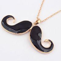 Wholesale Moustache Necklace Long - Korean Style Vintage New Cute Gifts Girls Beard Gold Color Sweater Chain Pendant Black Moustache Long Rings For Women