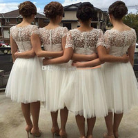 Wholesale Australia Dresses - 2017 White Australia USA Bridesmaid Dresses Short Sleeves Bridesmaid Dress Lovely Tulle Lace Party Dress Knee Length Plus Size Prom Dresses