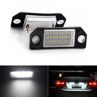 ampul c toptan satış-2 Adet Hata Ücretsiz 24 Beyaz LED Lisans Numarası Plaka Işık Arka Lambalar Araba Ampuller Işıklar Ford Focus MK2 Ford C-MAX MK1 için fit