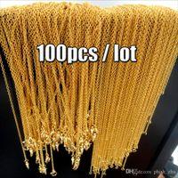 en kaliteli altın kaplama zincirler toptan satış-Fabrika Fiyat Için 18 K Altın Kaplama Zincirler Kolye Kolye Istakoz Kapat En Kaliteli Moda Takı DIY Aksesuarları 1.5mm 100 adet / grup