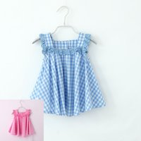 Wholesale Cut Baby Girl Princess - 2colors cut lace Plaid baby Girls Dresses Children Sleeveless suspender skirt Princess Dress Kids Party Dress vest dress Free Shipping a0132
