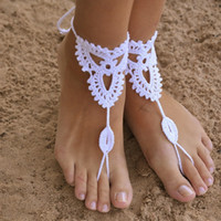 ingrosso sandali bianchi a crochet-Beach wedding White Crochet wedding Barefoot showcase danza donna yoga spiaggia sandali piede anello europeo e americano