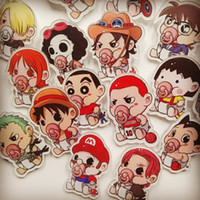 pieza de broche clásico al por mayor-La versión adorable de los personajes clásicos del anime japonés de One Piece Q Sakuraki Conan edición BROOCH BADGE serie Astro pezón