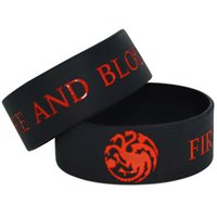 Wholesale Silicone Bracelet Game Day - 25pcs lot Game Of Thrones Fire and blood silicone wristband bracelet