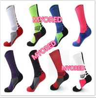 Wholesale Wholesale Sports Usa - 8 color USA Professional Elite Basketball Socks Long Knee Athletic Sport Socks Mens brands new thick towel bottom Compression Thermal Socks