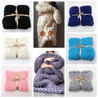 Wholesale Mechanical Photos - 11 Colors 60*60cm Thick Line Knitted Blanket Photo Taking Props Blending Anti-Pilling Super Soft Used in Bed Sofa Plane CCA7371 50pcs