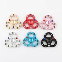 Wholesale 3d Free Bead Toys - Hot 3D color drill fidget spinner trefoil 9 beads color diamond fingertips aluminum alloy finger toy DHL free shipping
