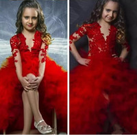 2017 O Шея Sheer с длинными рукавами Red Ball Gown Цветочные девушки Платья Puffy Tulle Front Split Kids Child Pageant Party Gowns Кружева Appliques