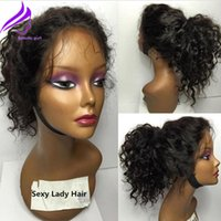 Wholesale Cheap Red Curly Synthetic Wigs - Stock Cheap Short Bob Wigs Heat Resistant Syntetic Hair black color loose curly Synthetic Lace Front Wigs can do ponytail