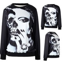 Wholesale Sweaters Lower - Haloween Dress NEW Loose digital printing couple sweater women fashion sweatershirts Halloween tops