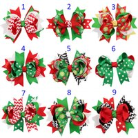 Wholesale Layered Christmas Bows - 13 Design Girls Christmas stripe dot hairpins Barrettes NEW children hair accessories princess Layered Bow Hair clips B001