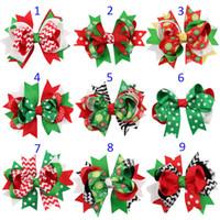 Wholesale Stripe Hair Bow - 13 Design Girls Christmas stripe dot hairpins Barrettes NEW children hair accessories princess Layered Bow Hair clips B001