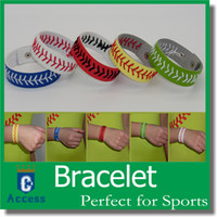 Wholesale Wholesale Bracelets Closures - Leather Baseball or Softball Bracelet with Red Stitching and Snap Closure Sports Jewelry