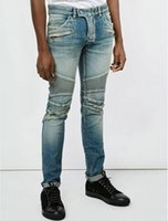 Wholesale Nwt Mens Slim - Mens Blue Washed Denim Cotton BIKER JEANS Motorcycle Biker Denim NWT Size 28-38