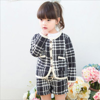 Wholesale Wholesale Black Cardigans - Hug Me Girls Sets Christmas Kids Clothing 2016 Autumn Girls Long Sleeve Cardigan Coat + Stripe Short 2 Pieces ER-356