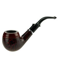 Wholesale Decorative Pipe - Unique Design Solid Wood Smoking Pipe Tobacco Pipes with Red Decorative Pattern