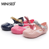 Wholesale Jelly Color Boots - Hot sell New kids Girls sandals mini sed jelly shoes bow PVC soft outsole children sandals boys Rain boots 14-16.5cm