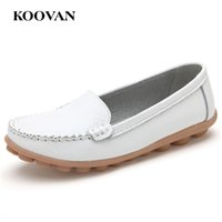 Wholesale Black Hole Office - Work Shoe Fashion Women Flat Shoe Hole Shoes Genuine Leather Loafer Koovan 2017 New Mother Shoes Shallow Mouth Five Color W242