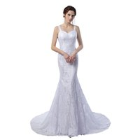 Wholesale Dress One Strap Short Yellow - Cheap Prom Dress Vestido De Novia Vintage 2017 White Lace Sexy Backless Evening Dresses Mermaid Elegant