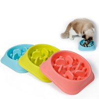 Plastic blue dog bowls - Dog Bowls Anti Choke Overturn Digest Healthy Feeding Food Bowls Pet Supplies Blue Green Pink Colors Rectangular Heart Shape Available