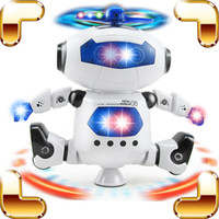 New Arrival Gift Baby Robot Dancing Machine Electric Walking Toys Robot de musique Flashing 360 Rotate Kids Stunt Moving Dance Model