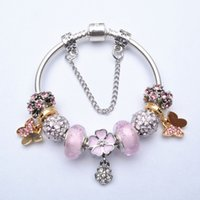 Wholesale Friendship Crystals - 2016 Fashion European DTY Charms Bracelets Bangles Pink Crystal Beads Fit Pandora Friendship Charm Bracelets For Women