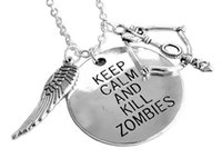 Wholesale Crossbow Charms - New Arrival American Tv Series Walking Dead Daryl Crossbow Wing Charm Pendant Necklace Keep Calm Kill Zombies for Unisex Wholesale