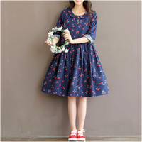 Wholesale Cute Maternity Clothing - Cute Fruit Printing Cotton Linen Maternity Dresses Autumn Long Sleeve Clothes for Pregnant Women Clothing for Pregnancy 2016