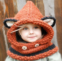 Wholesale crochet fox hat for sale - Group buy 2017 Autumn Winter Baby Kids Cartoon Fox Hat Scarf Wraps One piece Knitted Cap Beanies Handmade Crochet Neckerchief Children Hats M98