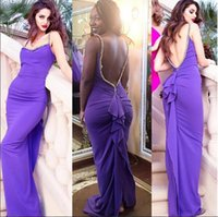 Sexy Backless Ruched Lila Brautjungfer Kleider Mantel Garten Spaghetti Straps Chiffon Lange Formal Kleider 2016 Frauen Party Kleider