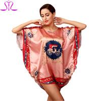 88e91ec6bd Wholesale-Women Nightie Bath Robe 2015 Special Print Faux Silk Sleep Lounge  Ladies Nightwear Plus Size Sleep Shirt Indoor Clothing 3002 YT
