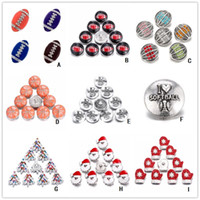 Wholesale Glove Snaps Wholesale - 18mm Noosa Santa Claus Snap Button Crystal Rugby Football Ginger Snap Christmas Tree Glove Sport Jewellry for Snap Jewelry Bracelets