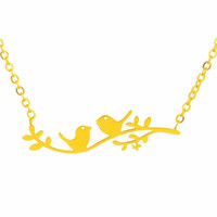 Wholesale Bird Branches Necklace - Wholesale 10Pcs lot 2017 Fashion Cute Tiny Bird On Branch Pendant Necklace Stainless Steel Jewelry Couple Bird Gold Chains Choker Necklaces