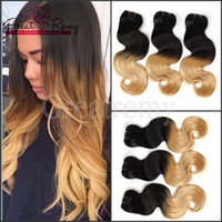 Ombre cheveux péruvienne Cheveux Extension de vague de corps Ombre Dip Dye Two Tone # 1B / # 27 Hair Weave Trame 7A 3pcs / lot Drop Shipping Ombre Greatremy