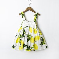 Wholesale Elegant Dress European - XCR15 INS Fashion Infant kids Girl Lemon Dress Princess bow Dress Girl Party Elegant Flower child dress 2 colors