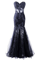 Wholesale Dark Navy Chiffon Dress Sweetheart - Appliques Beaded Vestido Longo Mermaid Evening Dresses High Quality Sweetheart Tulle Celebrity Party Dresses Vestido De Festa