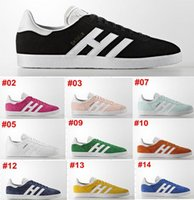 Wholesale Orange Walking Shoes - 2018 Men Women retro suede Gazelle shoes Racer Black and white shoes Red Grey Orange Lightweght Breathable Walking lovers Shoes 36-44