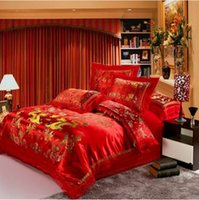 Wholesale Machine Wedding - Red satin Dragon and phoenix chinese Wedding Bedding set print Modern suits Jacquard Bedclothes queen king size