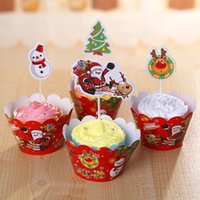 Wholesale Cupcake Items - Wholesale- Merry Christmas Items Decorations For Home Cupcake Toppers Toys Gift Cheap Cake Dessert Table Kitchen Accessories Supplies Cheap
