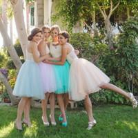 vestidos de dama de honor hasta la rodilla de color morado claro al por mayor-Faldas de tutú Hasta la rodilla Vestidos de dama Vestidos de Festa Luz púrpura por encargo Tulle Ropa de mujer Faldas Vestidos de fiesta de boda