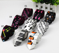 Wholesale Free Music Keyboard - HOT SELL New Fashion Novelty Men's Music Tie Piano keyboard Guitar Music Note Necktie retail and wholesale